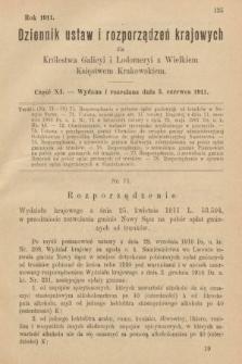 Dziennik Ustaw i Rozporządzeń Krajowych dla Królestwa Galicyi i Lodomeryi wraz z Wielkiem Księstwem Krakowskiem. 1911, cz.11