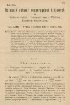 Dziennik Ustaw i Rozporządzeń Krajowych dla Królestwa Galicyi i Lodomeryi wraz z Wielkiem Księstwem Krakowskiem. 1911, cz.18