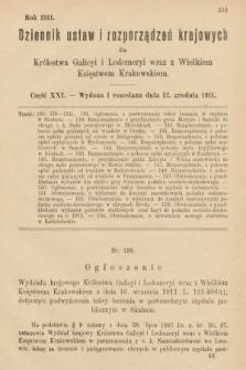 Dziennik Ustaw i Rozporządzeń Krajowych dla Królestwa Galicyi i Lodomeryi wraz z Wielkiem Księstwem Krakowskiem. 1911, cz.21