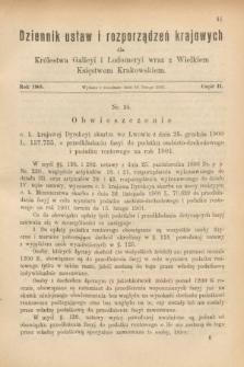 Dziennik Ustaw i Rozporządzeń Krajowych dla Królestwa Galicyi i Lodomeryi wraz z Wielkiem Księstwem Krakowskiem. 1901, cz.2