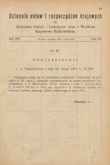 Dziennik Ustaw i Rozporządzeń Krajowych dla Królestwa Galicyi i Lodomeryi wraz z Wielkiem Księstwem Krakowskiem. 1901, cz.3