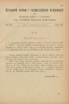 Dziennik Ustaw i Rozporządzeń Krajowych dla Królestwa Galicyi i Lodomeryi wraz z Wielkiem Księstwem Krakowskiem. 1901, cz.8