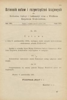 Dziennik Ustaw i Rozporządzeń Krajowych dla Królestwa Galicyi i Lodomeryi wraz z Wielkiem Księstwem Krakowskiem. 1901, cz.16