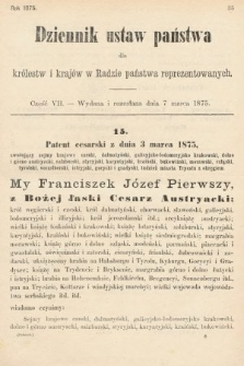 Dziennik Ustaw Państwa dla Królestw i Krajów w Radzie Państwa Reprezentowanych. 1875. zeszyt7