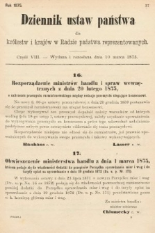 Dziennik Ustaw Państwa dla Królestw i Krajów w Radzie Państwa Reprezentowanych. 1875. zeszyt8