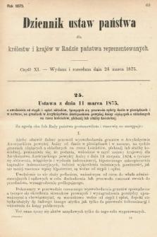 Dziennik Ustaw Państwa dla Królestw i Krajów w Radzie Państwa Reprezentowanych. 1875. zeszyt11