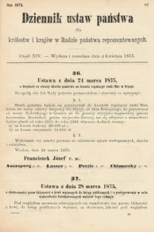 Dziennik Ustaw Państwa dla Królestw i Krajów w Radzie Państwa Reprezentowanych. 1875. zeszyt14