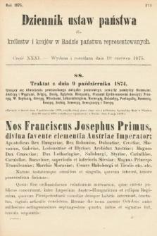 Dziennik Ustaw Państwa dla Królestw i Krajów w Radzie Państwa Reprezentowanych. 1875. zeszyt31