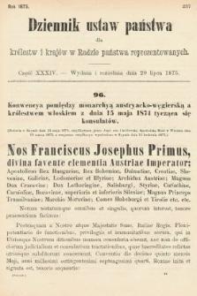 Dziennik Ustaw Państwa dla Królestw i Krajów w Radzie Państwa Reprezentowanych. 1875. zeszyt34