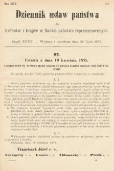 Dziennik Ustaw Państwa dla Królestw i Krajów w Radzie Państwa Reprezentowanych. 1875. zeszyt35