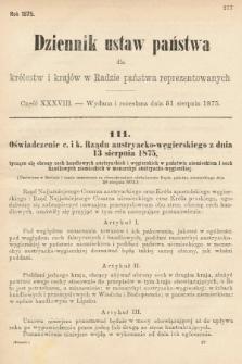 Dziennik Ustaw Państwa dla Królestw i Krajów w Radzie Państwa Reprezentowanych. 1875. zeszyt38
