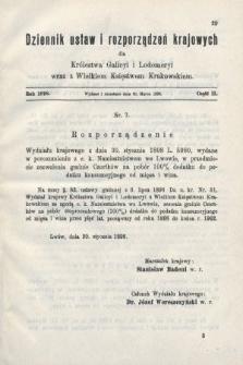 Dziennik Ustaw i Rozporządzeń Krajowych dla Królestwa Galicyi i Lodomeryi wraz z Wielkiem Księstwem Krakowskiem. 1898, cz.2