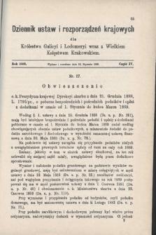 Dziennik Ustaw i Rozporządzeń Krajowych dla Królestwa Galicyi i Lodomeryi wraz z Wielkiem Księstwem Krakowskiem. 1889, cz.4