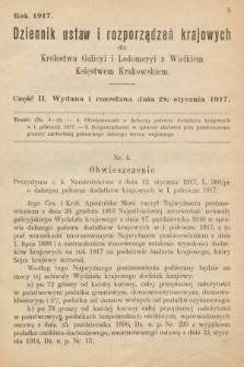 Dziennik Ustaw i Rozporządzeń Krajowych dla Królestwa Galicyi i Lodomeryi wraz z Wielkiem Księstwem Krakowskiem. 1917, cz.2