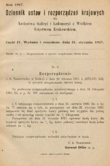 Dziennik Ustaw i Rozporządzeń Krajowych dla Królestwa Galicyi i Lodomeryi wraz z Wielkiem Księstwem Krakowskiem. 1917, cz.4