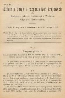 Dziennik Ustaw i Rozporządzeń Krajowych dla Królestwa Galicyi i Lodomeryi wraz z Wielkiem Księstwem Krakowskiem. 1917, cz.5