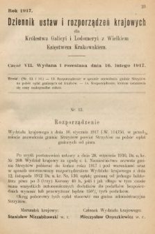 Dziennik Ustaw i Rozporządzeń Krajowych dla Królestwa Galicyi i Lodomeryi wraz z Wielkiem Księstwem Krakowskiem. 1917, cz.7
