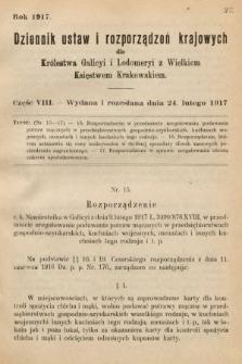 Dziennik Ustaw i Rozporządzeń Krajowych dla Królestwa Galicyi i Lodomeryi wraz z Wielkiem Księstwem Krakowskiem. 1917, cz.8