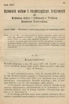 Dziennik Ustaw i Rozporządzeń Krajowych dla Królestwa Galicyi i Lodomeryi wraz z Wielkiem Księstwem Krakowskiem. 1917, cz.13