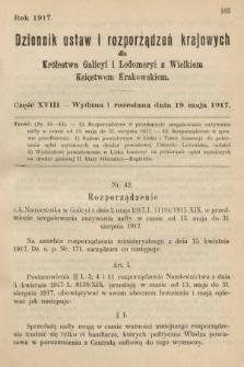 Dziennik Ustaw i Rozporządzeń Krajowych dla Królestwa Galicyi i Lodomeryi wraz z Wielkiem Księstwem Krakowskiem. 1917, cz.18