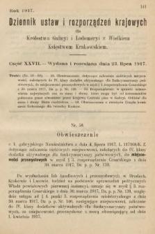 Dziennik Ustaw i Rozporządzeń Krajowych dla Królestwa Galicyi i Lodomeryi wraz z Wielkiem Księstwem Krakowskiem. 1917, cz.27