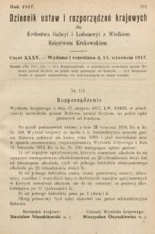 Dziennik Ustaw i Rozporządzeń Krajowych dla Królestwa Galicyi i Lodomeryi wraz z Wielkiem Księstwem Krakowskiem. 1917, cz.35