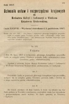 Dziennik Ustaw i Rozporządzeń Krajowych dla Królestwa Galicyi i Lodomeryi wraz z Wielkiem Księstwem Krakowskiem. 1917, cz.37