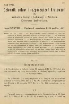 Dziennik Ustaw i Rozporządzeń Krajowych dla Królestwa Galicyi i Lodomeryi wraz z Wielkiem Księstwem Krakowskiem. 1917, cz.38