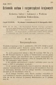 Dziennik Ustaw i Rozporządzeń Krajowych dla Królestwa Galicyi i Lodomeryi wraz z Wielkiem Księstwem Krakowskiem. 1917, cz.39