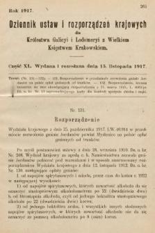 Dziennik Ustaw i Rozporządzeń Krajowych dla Królestwa Galicyi i Lodomeryi wraz z Wielkiem Księstwem Krakowskiem. 1917, cz.40