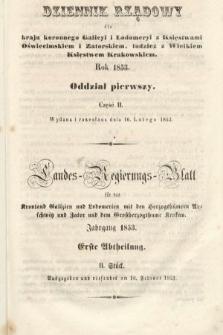 Dziennik Rządowy dla Kraju Koronnego Galicyi i Lodomeryi [...] = Landes-Regierungs-Blatt für das Kronland Galizien und Lodomerien [...]. 1853, oddział 1, cz.2