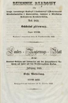 Dziennik Rządowy dla Kraju Koronnego Galicyi i Lodomeryi [...] = Landes-Regierungs-Blatt für das Kronland Galizien und Lodomerien [...]. 1853, oddział 1, cz.28