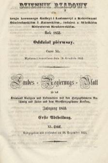 Dziennik Rządowy dla Kraju Koronnego Galicyi i Lodomeryi [...] = Landes-Regierungs-Blatt für das Kronland Galizien und Lodomerien [...]. 1853, oddział 1, cz.40
