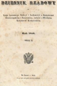 Dziennik Rządowy dla Kraju Koronnego Galicyi i Lodomeryi [...] = Landes-Regierungs-Blatt für das Kronland Galizien und Lodomerien [...]. 1853, oddział 2 [całość]