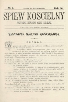 Śpiew Kościelny : dwutygodnik poświęcony muzyce kościelnej. 1899, nr2
