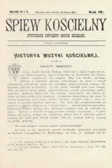 Śpiew Kościelny : dwutygodnik poświęcony muzyce kościelnej. 1899, nr6 i 7