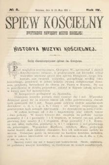 Śpiew Kościelny : dwutygodnik poświęcony muzyce kościelnej. 1899, nr8