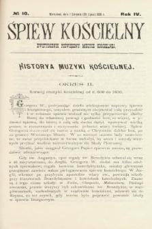 Śpiew Kościelny : dwutygodnik poświęcony muzyce kościelnej. 1899, nr10