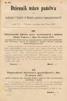 Dziennik Ustaw Państwa dla Królestw i Krajów w Radzie Państwa Reprezentowanych. 1877, cz.20
