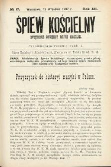 Śpiew Kościelny : dwutygodnik poświęcony muzyce kościelnej. 1907, nr17