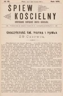Śpiew Kościelny : dwutygodnik poświęcony muzyce kościelnej. 1903, nr12