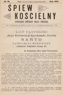 Śpiew Kościelny : dwutygodnik poświęcony muzyce kościelnej. 1903, nr19