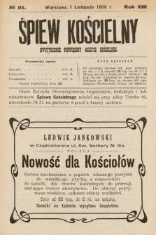 Śpiew Kościelny : dwutygodnik poświęcony muzyce kościelnej. 1908, nr21