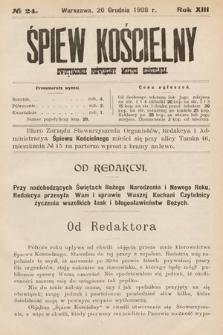 Śpiew Kościelny : dwutygodnik poświęcony muzyce kościelnej. 1908, nr24