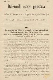 Dziennik Ustaw Państwa dla Królestw i Krajów w Radzie Państwa Reprezentowanych. 1881, cz.42