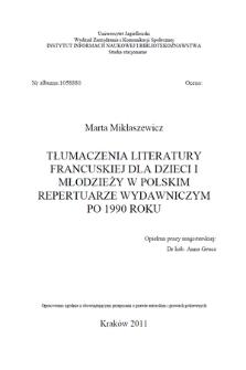 Tłumaczenia literatury francuskiej dla dzieci i młodzieży w polskim repertuarze wydawniczym po 1990 roku