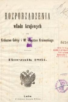 Rozporządzenia Władz Krajowych dla Królestwa Galicyi i Bukowiny. 1861 [całość]