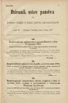 Dziennik Ustaw Państwa dla Królestw i Krajów w Radzie Państwa Reprezentowanych. 1882, cz.3