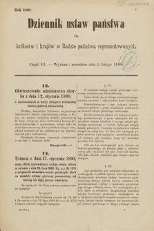 Dziennik Ustaw Państwa dla Królestw i Krajów w Radzie Państwa Reprezentowanych. 1890, cz.6