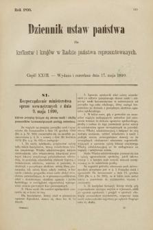 Dziennik Ustaw Państwa dla Królestw i Krajów w Radzie Państwa Reprezentowanych. 1890, cz.23